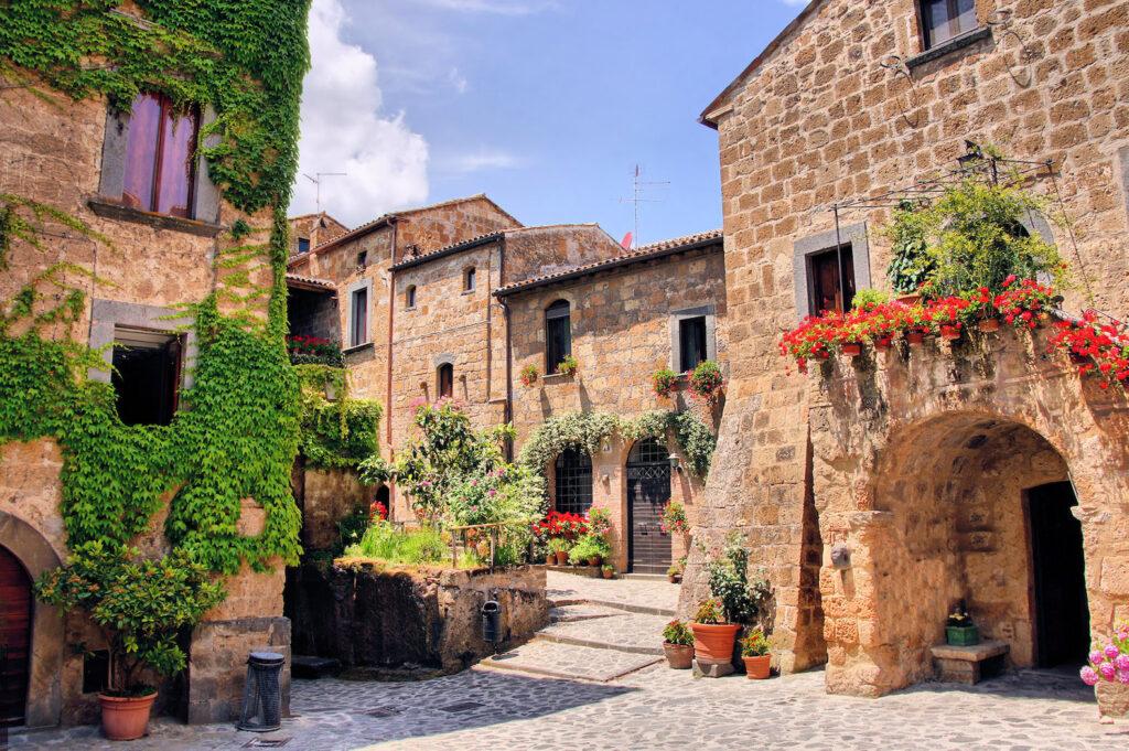 A square in Civita di Bagnoregio, with its splendid colors.