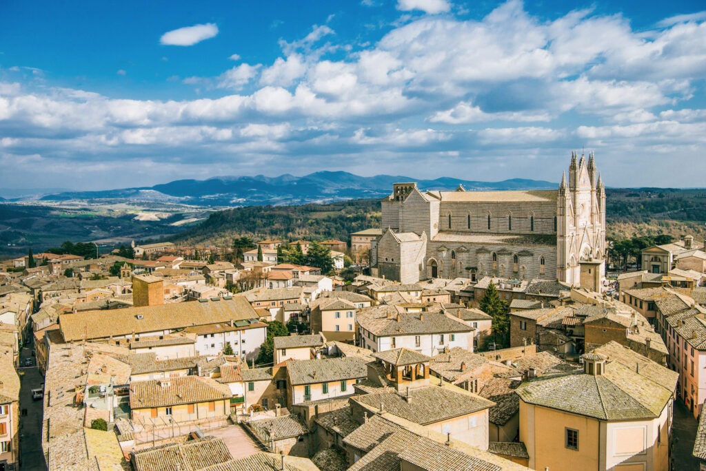 Aerial view of the historic city of Orvieto. The Duomo in all its splendor.