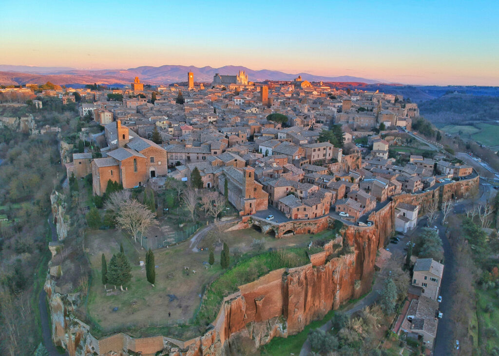 Aerial view of Orvieto at sunset. Wonderful colors.