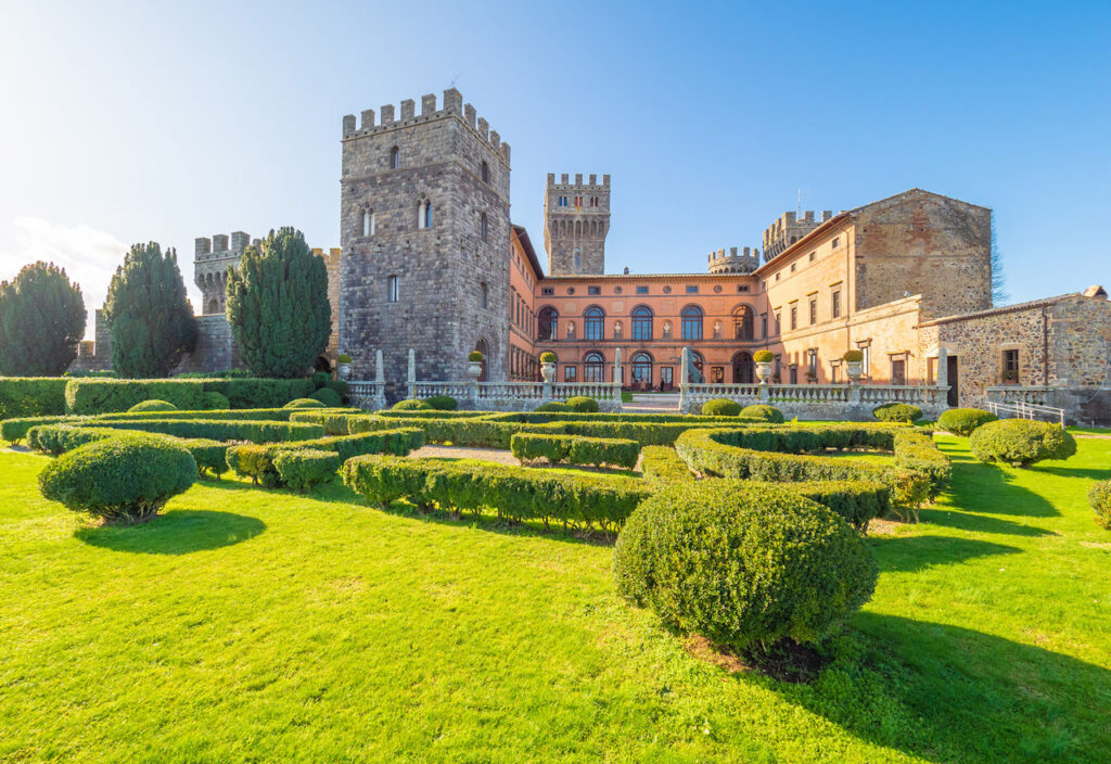View of the splendid castle of Torre Alfina and its gardens.